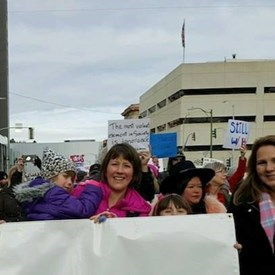 Marching for Women in Downtown Spokane with Council Members Amber Waldref and Lori Kinnear.