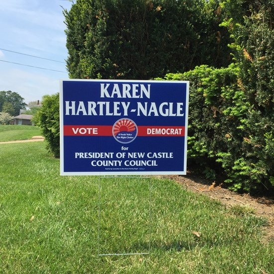 Yes, we do. We hand-deliver your lawn sign to you within 24 hours. Contact our campaign team at (302) 344-7828 or e-mail us at karen.hartleynagle2016@gmail.com to have your sign delivered. Thank you, New Castle County for your support!