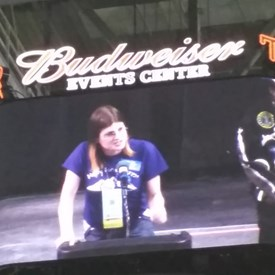 Misty was giving a short 3 min speech to the Colorado state crowd.