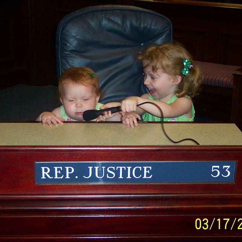 Old family pic of my girls at my desk in the Florida House of Representatives