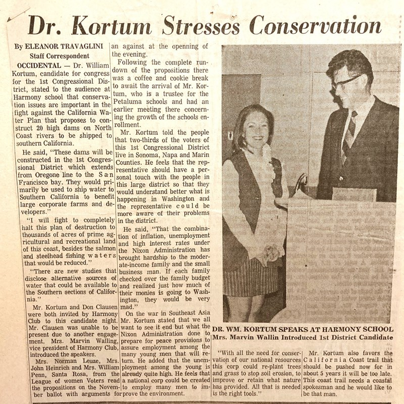 My mom was focused on conservation back at Harmony School in Occidental during candidate night in November 1970. She introduced Bill Kortum at the League of Women Voters forum. (I was in 1st grade)