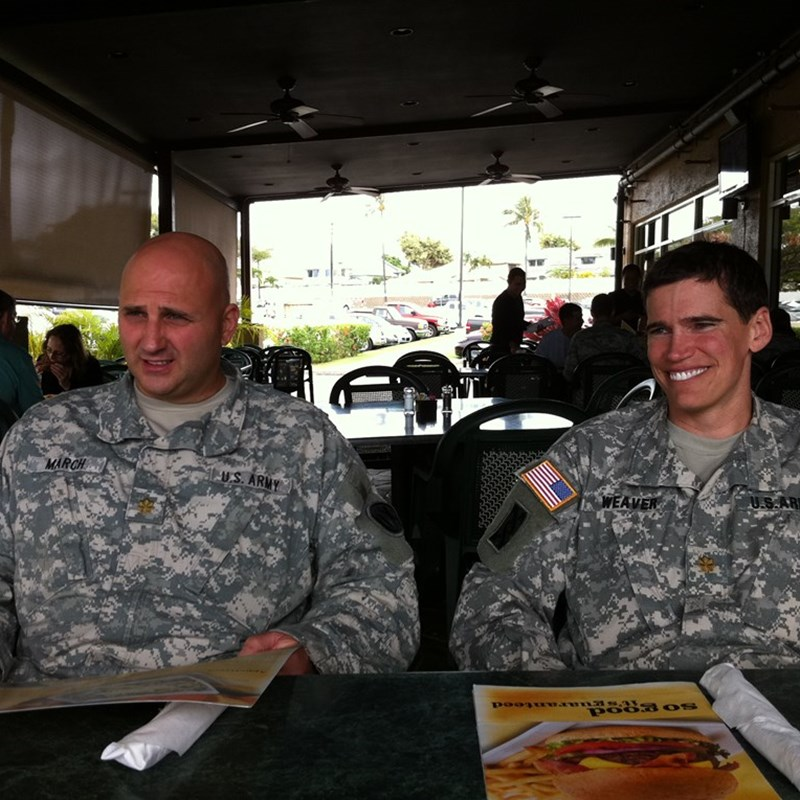 at my promotion lunch. with Lieutenant Colonel March and Major Weaver.