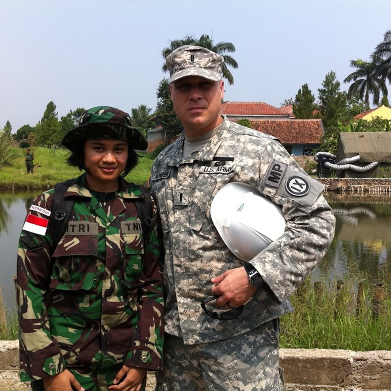 With a TNI-AD Soldier at a humanitarian site where we built a community center and a market.