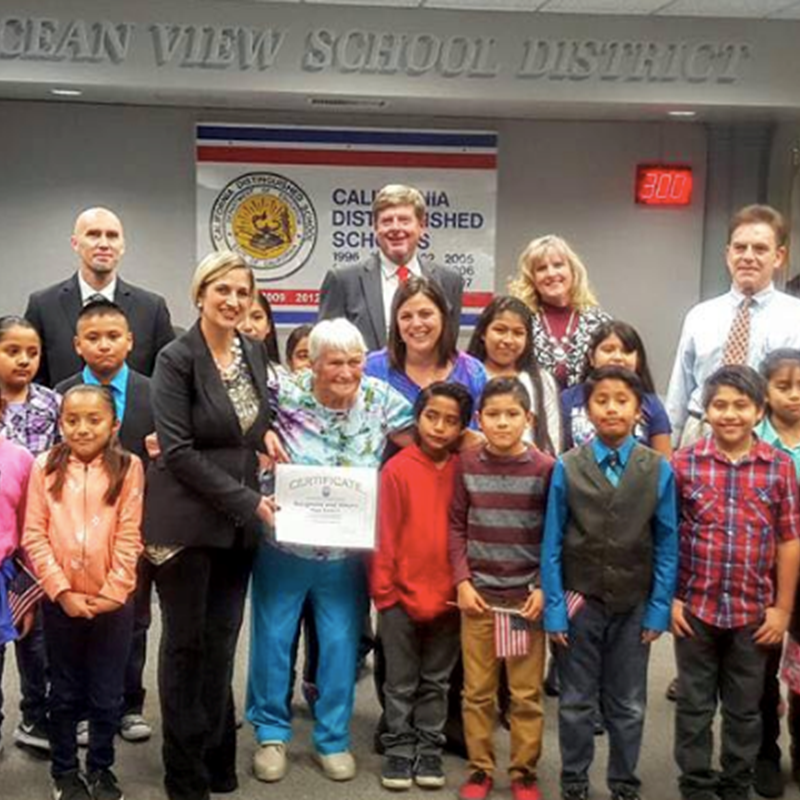 Tonight our Oak View students from Mrs. Berkers' 3rd grade class performed at the Board Meeting. They performed patriotic songs and recited a special chant in honor of one of Oak View's favorite volunteers, Mrs. Peggy Wanderer. She has dedicated the past 15 years to volunteering at Oak View Elementary School in Mrs. Berkers' 3rd grade class.