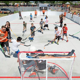 The outdoor street hockey rink for students at Star View in Midway City donated by the Anaheim Mighty Ducks for their G.O.A.L.S. program. Thank you to the Ducks!