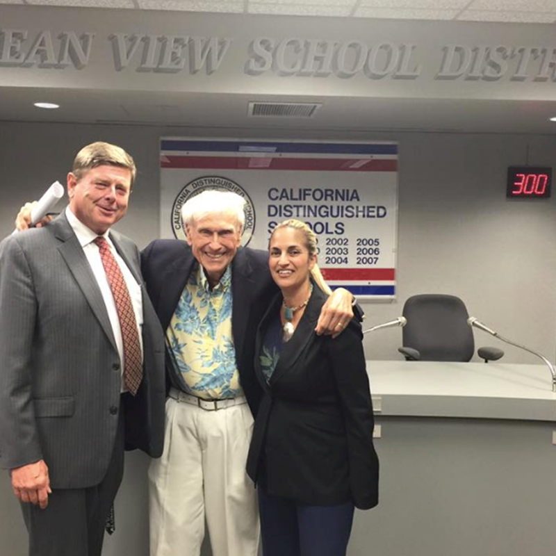 At an OVSD Board of Trustees meeting with Trustee John Briscoe and HB Mayor Ralph Bauer. Former college professor and HB Mayor Dr. Bauer strongly supports and endorses Measure R.