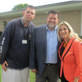 With HB Councilman Erik Peterson and resident Chris Mc Donald at grand reopening of Hope View in 2015.