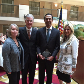 Honored to be present for the award for California State Classified Employee of the Year, 2016 to be awarded to College View's own Efren Barrera. Pictured from left to right are Sandy Vaughn of OVSD CSEA Chapter 375, CA State Superintendent of Schools Tom Torlakson, Efren Barrera and I.