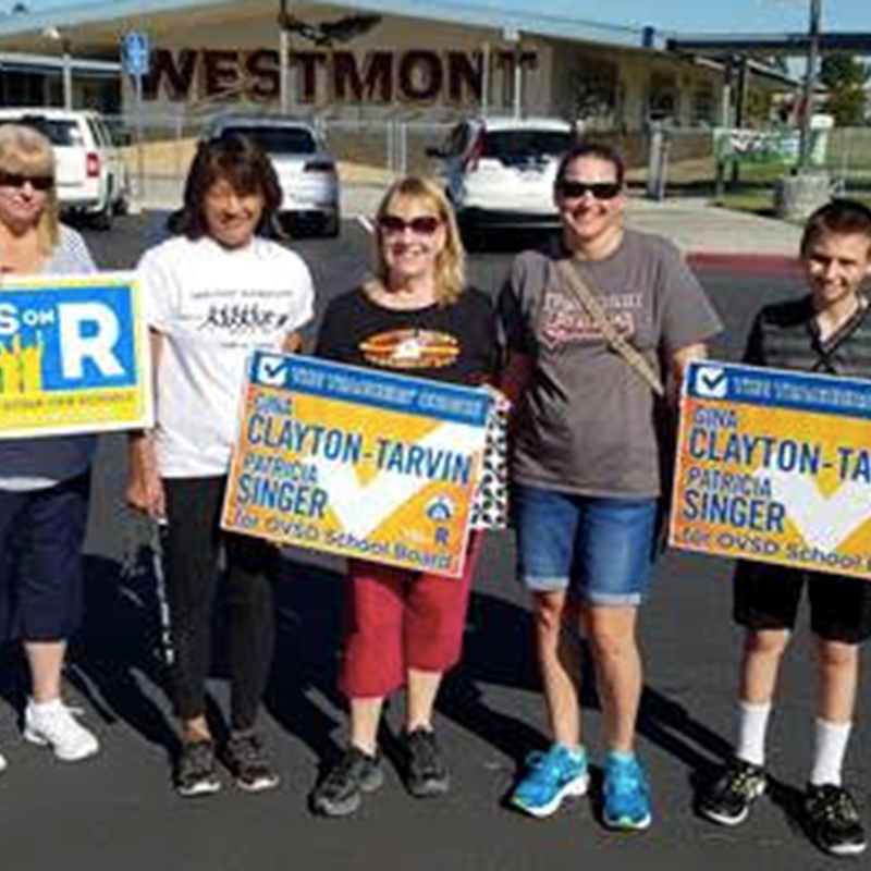 Westmont principal and teachers out walking precincts for Measure R, Prop 55, and Patricia Singer and me.
