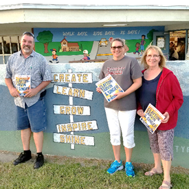 OVSD team effort is shown here, campaigning at Back to School Night at Westmont, pictured are CSEA Chapter 375 president Steve Hunter alongside the Ocean View Teachers Association (OVTA) leaders, Michelle McCray and Marsha Sipkovich.