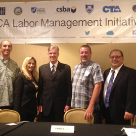 At Labor Management Institute in San Diego with local CTA and CSEA chapter presidents and Tom Torlakson, state superintendent of schools.