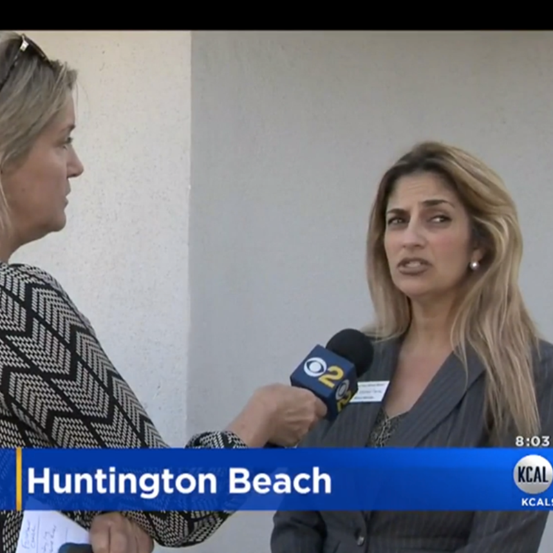 Speaking on camera with Michele Gile of Channel 9 in regards to attempted child abduction, 2017
