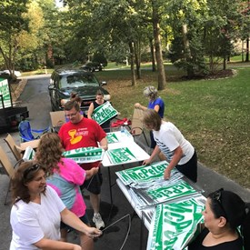 Signs, signs and more signs!  Thanks to my wonderful volunteers we were able to assemble all of my signs very quickly.