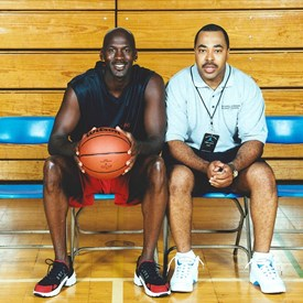 Here is Drew with Michael Jordan when Drew helped run Michael Jordan Flight School and other camps and activities with youth and young athletes in the late 1990s and early 2000s.