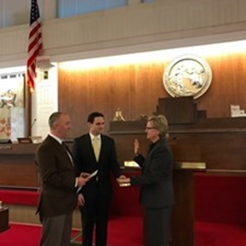 Rep. Deb is sworn in by the Chief Clerk and Rep. Darren Jackson, House Minority Leader