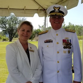 Representative Deborah Butler and Vice Admiral Scott Buschman at the 29th Change of Command of the USCGC Diligence on August 9, 2019