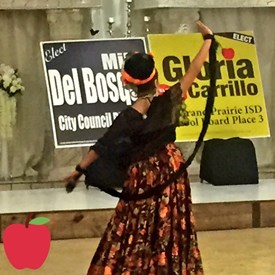Fundraiser for Gloria. March 16, 2017. A beautiful dancer is pictured from Grand Prairie's Ballet Folklorico.
