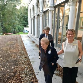 Hostess Cynthia Meanwell escorting Madeleine K. Albright to her entrance while Tom Malinowski for Congress follows behind. A great time was had by all this evening!