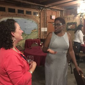 Shanel Robinson for Somerset County Freeholder talking with BTDC representative, Lisa Winter.