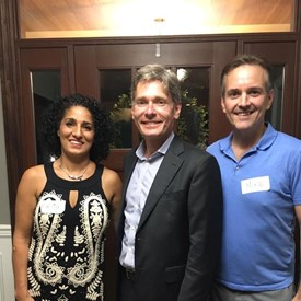 Hosts Parisa Hakimzadeh and Mike Alvarez with Tom Malinowski for Congress. What a truly lovely evening! Large international crowd, excellent food, and intelligent conversation for hours. Thank you so much for hosting!