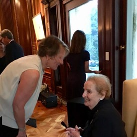Madeleine K. Albright enjoying her evening, and Cynthia Meanwell being the exceptional host.