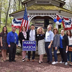 Joan B Harris and Robert J. Mascia for Bernards Township Committee with Barbara Brooks, Sara Sooy for Somerset County Freeholder, County Clerk Stephen Peter, Suzanne Glassman, Tom Malinowski for CD-7, Jen Kluger, BTDC Chair Nancy D'Andrea, Robin Gurin and Shanel Robinson for County Freeholder.