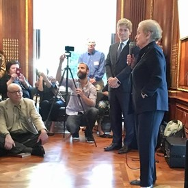 Tom Malinowski for Congress listens to Madeleine K. Albright talk about what true bipartisanship is all about