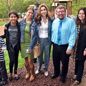 Sophia Chadda with County Clerk Steve Pete, Freeholder Sara Sooy, and supporters.