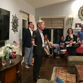 Tom Malinowski for Congress talking to some in the crowd about everything from immigration to healthcare to gun control.