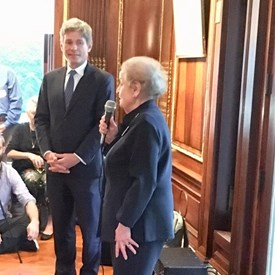 Tom Malinowski for Congress and Madeleine K. Albright talking before the crowd.