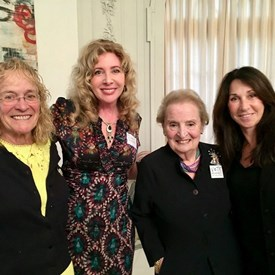 Somerset County Democratic Committee Chair Peg Schaffer, BTDC Committee person Suzanne Glassman, Madeleine Albright, and Robin Gurin