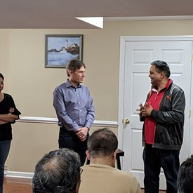 Balaji and Anita Koppala welcoming and introducing Congressman Tom Malinowski.