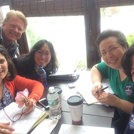 The Executive Officers and Campaign Manager meet to get ready for our May meeting.  From L: Catherine Santaiti, Gregory Begg, Kat Ma, Nancy D'Andrea and Ana McCarthy.