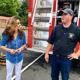 Basking Ridge Fire Co. No 1 & EMS talking with Sophia about their work and the engine. Very informative!