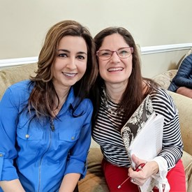 Sophia Chadda with Catherine Santaiti at a Meet and Greet.