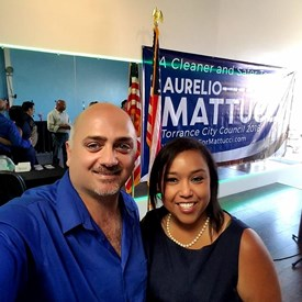 City of Gardena Mayor Tasha Cerda with Torrance City Council candidate Aurelio Mattucci