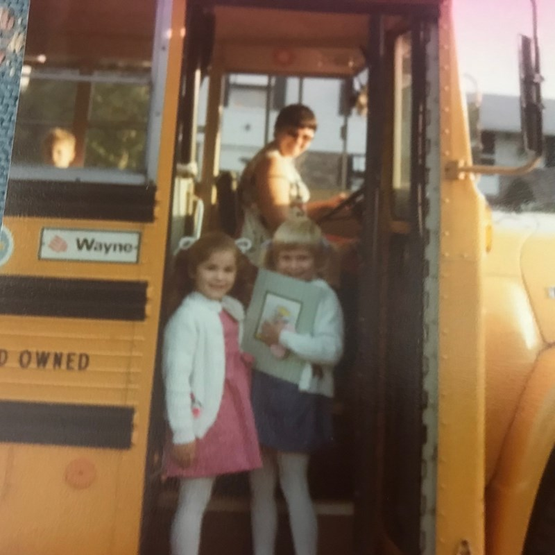 First day of school, me and my sister, back in the day!