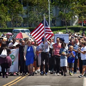 Marching in Solidarity on Irvine Center Drive