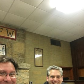 AG candidate Aaron Goldstein stopped in at Ogle County Democrats and shared his views as well (2/6/18).