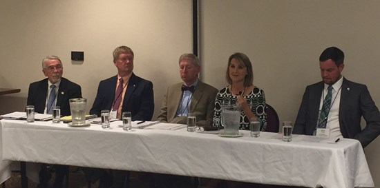 Michele speaking to Virginia Nurses Association and Virginia Council of Nurse Practitioners on September 20th. From left Del Bell, Del Wilt, Del Landis, Michele and Candidate Brent Finnegan.