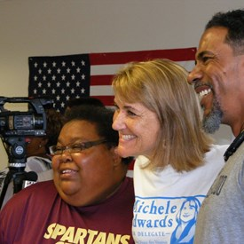 Michele Edwards with supporters.