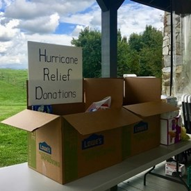 Attendees were invited to donate feminine and baby products for delivery to victims of Hurricane Harvey in Texas.
