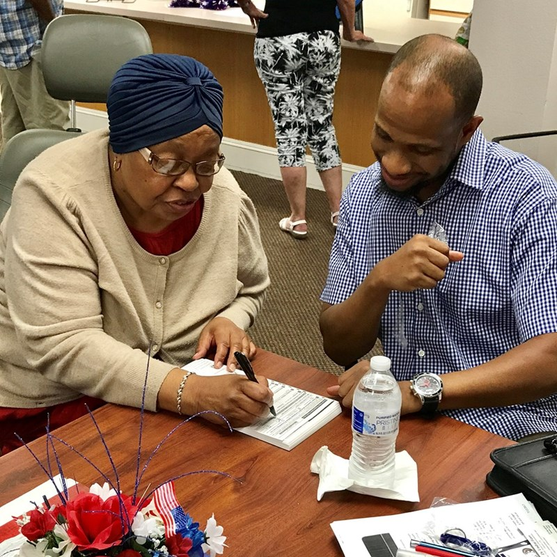 Northvale resident, Gale Brown registers to vote in the new district that Fizer seeks to represent.
