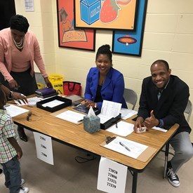 Members of Fizer's Campaign Team, taking signatures and voter registrations at Cathedral of Faith Church. Left to Right: Cathy Vallie; Chari McHenry, and Jason Smith.