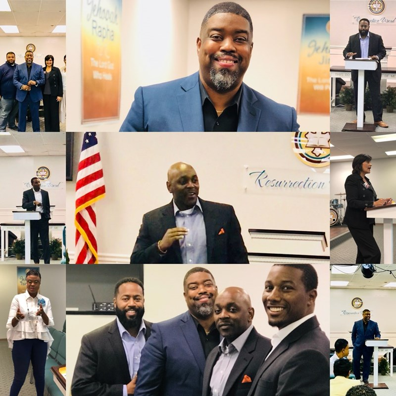 A collage of the happenings at Community Dialogues with Dr. Undrai F. Fizer @Resurrection Word Community Church.