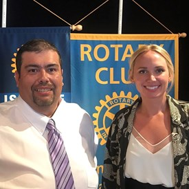 With SL Rotary President Kimberly Pace after my presentation on SLUSD