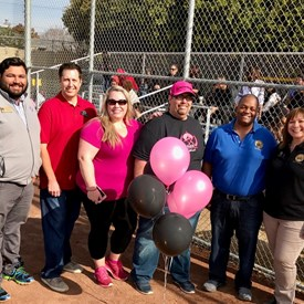 San Leandro Girls Softball Opening Day with Coincilmembers Lopez, Thomas and Hernandez and Trustee Aguilar and League President Michelle Sheridan