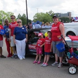 My team preparing to walk in the Champaign County Freedom Celebration Parade.