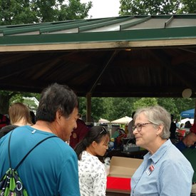 Speaking with constituents at the Jettie Rhodes Day celebration in King Park.