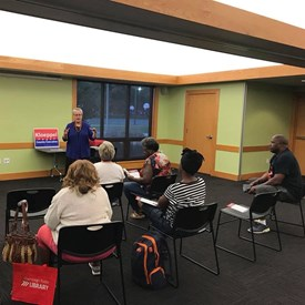 Sharing about this new position of County Executive at a town hall co-hosted by Lorraine Cowart, County Board Member District 11